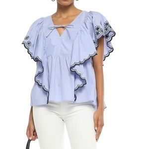 Kate Spade Embroidered Chambray Blouse